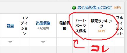 Amazon在庫管理画面 販売ランキング
